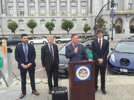 Phil Ting, Daniel Lashof, Max Baumhefner, and Ivan Jimenez speak at press conference in front of city hall to promote bill to boost electric car sales.