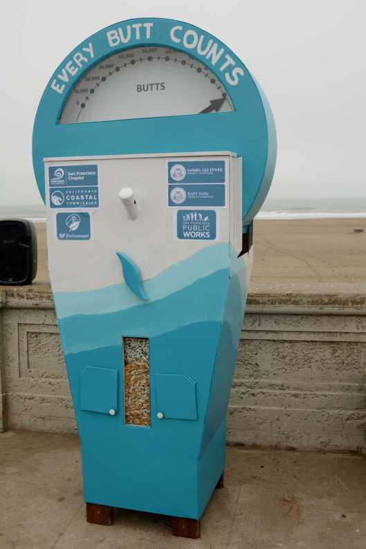 A cigarette counting device is placed at Ocean Beach in San Francisco, Calif., on Friday, June 30, 2017. SF Supervisors Katy Tang and Sandra Lee Fewer helped launch a pilot program to encourage people to throw their cigarettes away in receptacles instead of throwing them away on the streets.