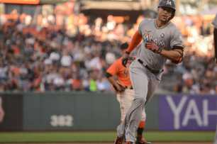Miami Marlins right fielder Giancarlo Stanton (27) rounds the bases after hitting a two-run home run in the first inning as the Miami Marlins face the San Francisco Giants at AT&T Park on Friday, July 7, 2017.