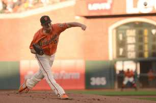 San Francisco Giants pitcher Matt Moore (45) throws a pitch in the first inning as the Miami Marlins face the San Francisco Giants at AT&T Park on Friday, July 7, 2017.