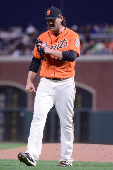 San Francisco Giants pitcher Cory Gearrin (62) reacts after ending the sixth inning as the Miami Marlins face the San Francisco Giants at AT&T Park on Friday, July 7, 2017.