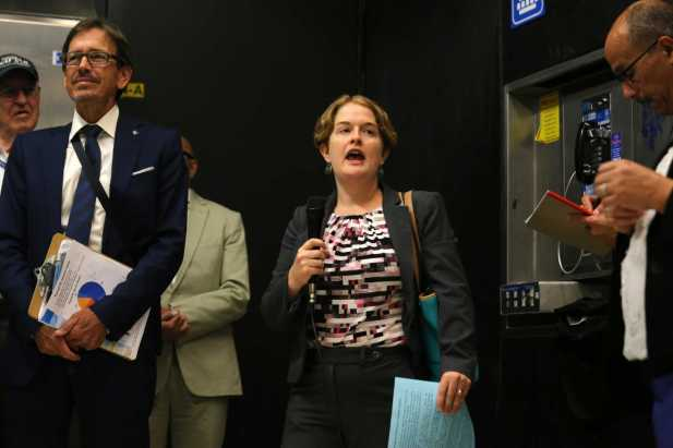 Rebecca Saltzman, middle, President of the BART Board of Directors, calls to order the board's regularly scheduled meeting inside the BART Powell Station in San Francisco, Calif., on, Thursday, July 13, 2017.