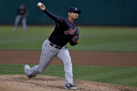 Cleveland Indians starting pitcher Carlos Carrasco (59) throws a pitch in the fourth inning as the Cleveland Indians face the Oakland Athletics at Oakland Coliseum in Oakland, Calif., on Friday, July 14, 2017.