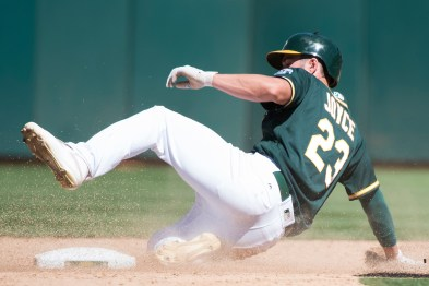Oakland Athletics right fielder Matt Joyce (23) steals second in the eighth inning of the game against the Cleveland Indians at the Oakland Coliseum in Oakland, Calif., on July 16, 2017.
