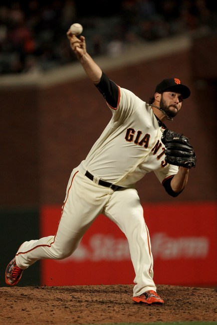 San Francisco Giants relief pitcher George Kontos (70) throws a pitch in the ninth inning as the Cleveland Indians face the San Francisco Giants at AT&T Park in San Francisco, Calif., on Monday, July 17, 2017.