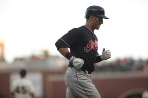 Cleveland Indians catcher Yan Gomez (7) rounds the bases after a solo home run in the third inning as the Cleveland Indians face the San Francisco Giants at AT&T Park in San Francisco, Calif., on Monday, July 17, 2017.
