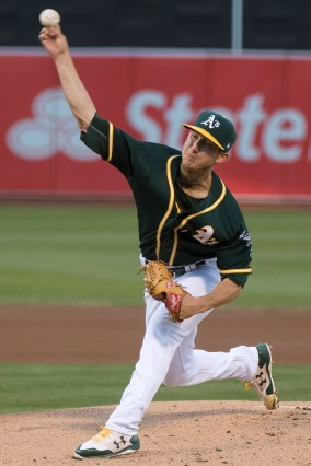 Oakland Athletics pitcher Daniel Gossett (48) pitches in the first inning of the game against the Tampa Bay Rays at the Oakland Coliseum in Oakland, Calif., on July 17, 2017.