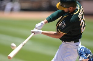Oakland Athletics right fielder Matt Joyce (23) flies out in the third inning as the Tampa Bay Rays face the Oakland Athletics at Oakland Coliseum in Oakland, Calif., on Wednesday, July 19, 2017.