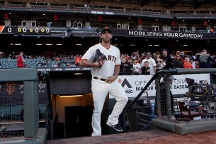 San Francisco Giants starting pitcher Madison Bumgarner (40) takes the field to warm up before the San Diego Padres face the San Francisco Giants at AT&T Park in San Francisco, Calif., on Thursday, July 20, 2017.