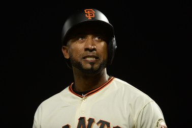 San Francisco Giants third baseman Eduardo Nunez (10) reacts after striking out in the ninth inning as the Pittsburgh Pirates face the San Francisco Giants at AT&T Park in San Francisco, Calif., on Monday, July 24, 2017.
