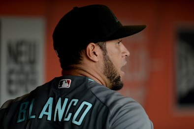 Arizona Diamondbacks outfielder Gregor Blanco (5) stands in the dugout before the Arizona Diamondbacks face the San Francisco Giants at AT&T Park in San Francisco, Calif., on Friday, August 4, 2017.