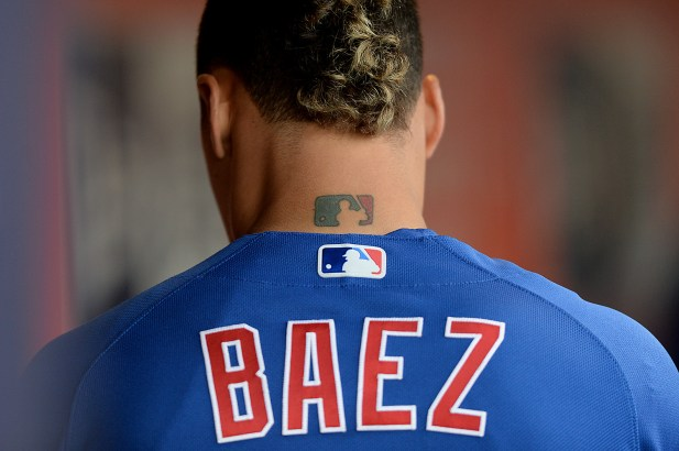 Chicago Cubs shortstop Javier Báez (9) prepares for the game as the Chicago Cubs face the San Francisco Giants at AT&T Park in San Francisco, Calif., on Tuesday, August 8, 2017.