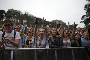 Fans cheer as Oliver Tree performs at the Outside Lands Music Festival at Golden Gate Park in San Francisco, Calif., on Friday, August 11, 2017.