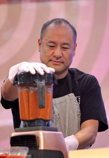 Dan the Automator mixes the marinade for Chef Choi at a cooking demo at the Outside Lands Music Festival at Golden Gate Park in San Francisco, Calif., on Saturday, August 12, 2017.