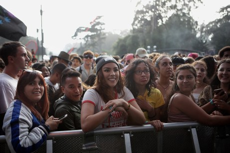 Fans get the news that A Tribe Called Quest has cancelled their performance at the Outside Lands Music Festival at Golden Gate Park in San Francisco, Calif., on Saturday, August 12, 2017.