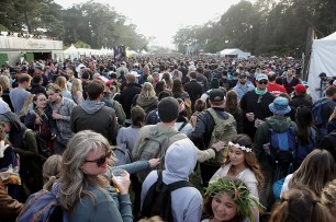 Fans make their way through the grounds at the Outside Lands Music Festival at Golden Gate Park in San Francisco, Calif., on Saturday, August 12, 2017.