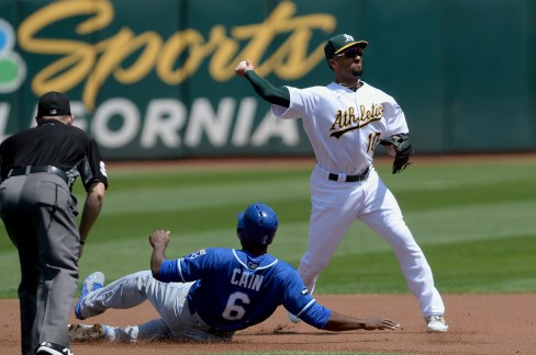 Oakland Athletics shortstop Marcus Semien (10) turns to throw to first for a double play in the first inning as the Kansas City Royals face the Oakland Athletics at Oakland Coliseum in Oakland, Calif., on Wednesday, August 16, 2017.