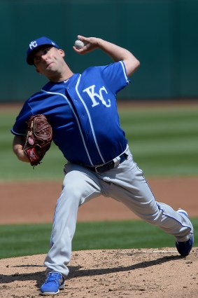 Kansas City Royals starting pitcher Danny Duffy (41) throws a pitch in the first inning as the Kansas City Royals face the Oakland Athletics at Oakland Coliseum in Oakland, Calif., on Wednesday, August 16, 2017.