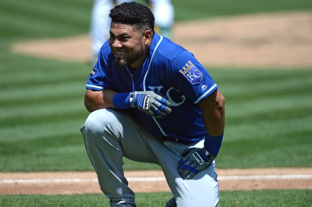 Kansas City Royals right fielder Melky Cabrera (53) reacts after a foul ball in the third inning as the Kansas City Royals face the Oakland Athletics at Oakland Coliseum in Oakland, Calif., on Wednesday, August 16, 2017.