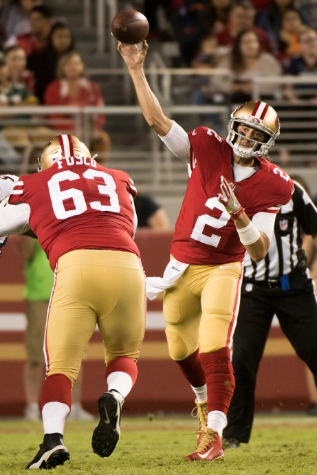 San Francisco 49ers quarterback Brian Hoyer (2) passes the ball in the second quarter of the game against the Denver Broncos at Levi's Stadium in Santa Clara, Calif., on August 19, 2017.