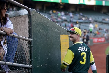 Oakland Athletics center fielder Boog Powell (3) reacts to a fan as the Texas Rangers face the Oakland Athletics at Oakland Coliseum in Oakland, Calif., on Friday, August 25, 2017.
