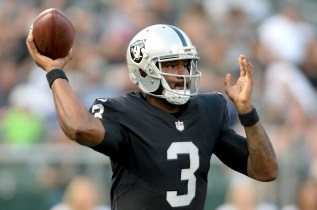 Oakland Raiders quarterback EJ Manuel (3) throws a pass in the first quarter as the Seattle Seahawks face the Oakland Raiders at Oakland Coliseum in Oakland, Calif., on Thursday, August 31, 2017.