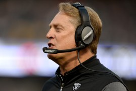 Oakland Raiders head coach Jack Del Rio yells at the referee in the first quarter as the Seattle Seahawks face the Oakland Raiders at Oakland Coliseum in Oakland, Calif., on Thursday, August 31, 2017.