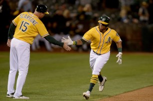 as the Los Angeles Angels face the Oakland Athletics at Oakland Coliseum in Oakland, Calif., on Saturday, April 1, 2017.