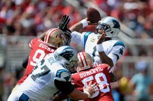 Carolina Panthers starting quarterback Cam Newton (1) gets off a pass in the first half as the Carolina Panthers face the San Francisco 49ers at Levi's Stadium in Santa Clara, Calif., on Sunday, September 10, 2017.