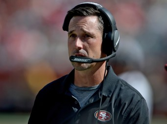 San Francisco 49ers head coach Kyle Shanahan looks on in the second half as the Carolina Panthers face the San Francisco 49ers at Levi's Stadium in Santa Clara, Calif., on Sunday, September 10, 2017.