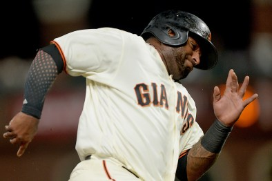 San Francisco Giants third baseman Pablo Sandoval (48) scores in the sixth inning as the Los Angeles Dodgers face the San Francisco Giants at AT&T Park in San Francisco, Calif., on Monday, September 11, 2017.