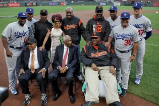 Players pose for a portrait as the Giants honor Hall of Famer Frank Robinson and celebrate African American Heritage Night as the Los Angeles Dodgers face the San Francisco Giants at AT&T Park in San Francisco, Calif., on Wednesday, September 13, 2017.