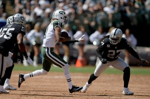 New York Jets wide receiver Robby Anderson(11) catches a pass over the middle in the first half as the New York Jets face the Oakland Raiders at Oakland Coliseum in Oakland, Calif., on Sunday, September 17, 2017.