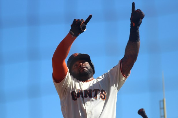San Francisco Giants first baseman Pablo Sandoval (48) points to fans after hitting a home run in the sixth inning as the Arizona Diamondbacks face the San Francisco Giants at the AT&T Park on Sunday September 17, 2017.