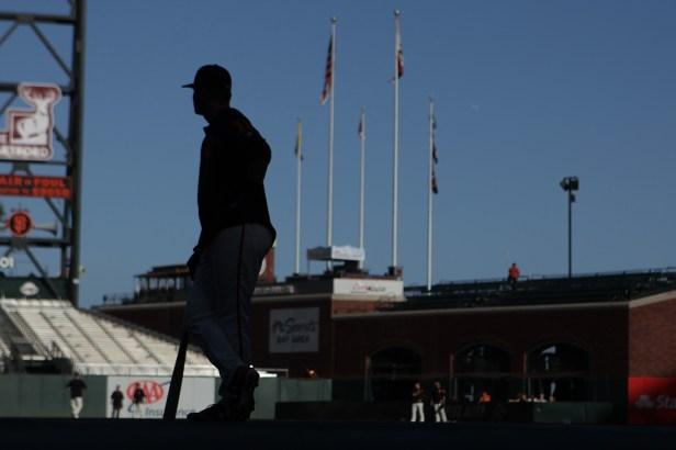 San Francisco Giants second baseman Joe Panik (12) waits to take batting practice as the Colorado Rockies face the San Francisco Giants at AT&T Park in San Francisco, Calif., on Tuesday, September 19, 2017.