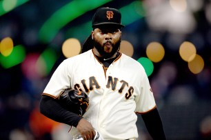 San Francisco Giants starting pitcher Johnny Cueto (47) finishes his warmups before the Colorado Rockies face the San Francisco Giants at AT&T Park in San Francisco, Calif., on Tuesday, September 19, 2017.