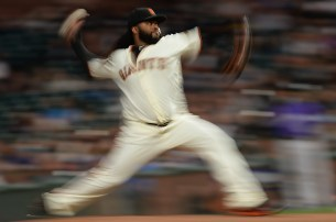 San Francisco Giants starting pitcher Johnny Cueto (47) throws a pitch in the first inning as the Colorado Rockies face the San Francisco Giants at AT&T Park in San Francisco, Calif., on Tuesday, September 19, 2017.