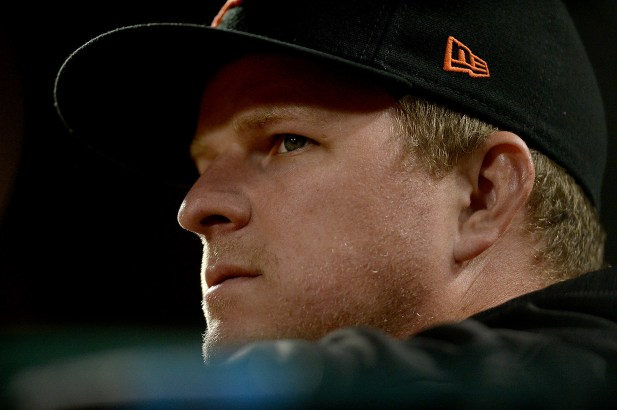 San Francisco Giants starting pitcher Matt Cain (18) looks onto the field in the first inning as the Colorado Rockies face the San Francisco Giants at AT&T Park in San Francisco, Calif., on Tuesday, September 19, 2017.