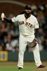 San Francisco Giants starting pitcher Johnny Cueto (47) throws the rosen bag down in frustration after giving up a two-run double in the second inning as the Colorado Rockies face the San Francisco Giants at AT&T Park in San Francisco, Calif., on Tuesday, September 19, 2017.