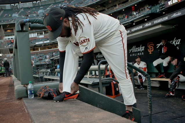 San Francisco Giants starting pitcher Johnny Cueto (47) adjusts his pants before taking the mound as the Colorado Rockies face the San Francisco Giants at AT&T Park in San Francisco, Calif., on Tuesday, September 19, 2017.