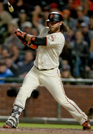 San Francisco Giants shortstop Brandon Crawford (35) breaks his bat as he grounds out in the fourth inning as the Colorado Rockies face the San Francisco Giants at AT&T Park in San Francisco, Calif., on Tuesday, September 19, 2017.