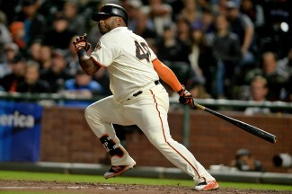 San Francisco Giants third baseman Pablo Sandoval (48) connects for an RBI single in the fourth inning as the Colorado Rockies face the San Francisco Giants at AT&T Park in San Francisco, Calif., on Tuesday, September 19, 2017.