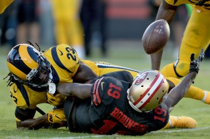San Francisco 49ers' Aldrick Robinson (19) can't haul in a pass in the first half as the Los Angeles Rams face the San Francisco 49ers at Levi's Stadium in Santa Clara, Calif., on Thursday, September 21, 2017.