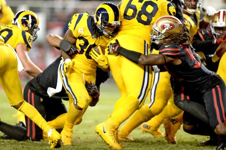Los Angeles Rams running back Todd Gurley (30) is stopped short of the goal line in the second half as the Los Angeles Rams face the San Francisco 49ers at Levi's Stadium in Santa Clara, Calif., on Thursday, September 21, 2017.