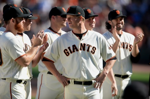 San Francisco Giants starting pitcher Matt Cain (18) is acknowledged for his final season after San Francisco Giants beat the San Diego Padres 5-4 at AT&T Park in San Francisco, Calif., on Sunday, October 1, 2017.