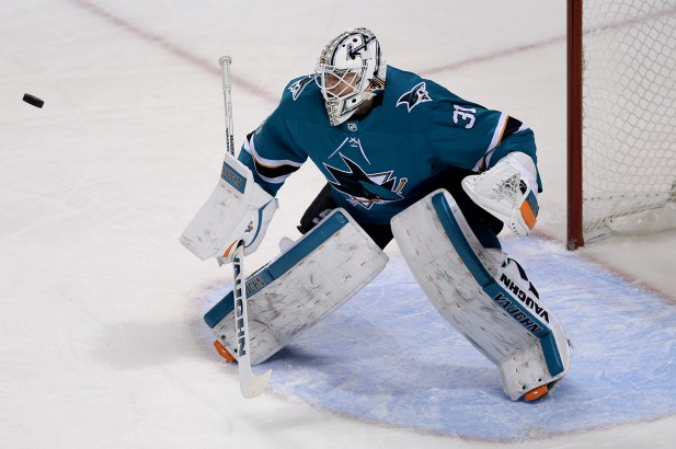 San Jose Sharks Martin Jones (31) eyes a puck ricochet of the boards in the second period as the Buffalo Sabres take on the San Jose Sharks at the SAP Center in San Jose, Calif., on Thursday, October 12, 2017.