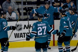 San Jose Sharks Timo Meier (28) celebrates a second period goal as the Buffalo Sabres take on the San Jose Sharks at the SAP Center in San Jose, Calif., on Thursday, October 12, 2017.