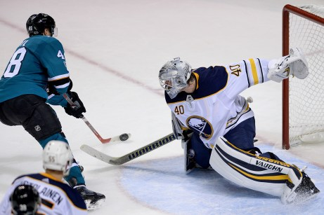 San Jose Sharks Tomas Hertl (48) shoots wide as Buffalo Sabres Robin Lehner (40) comes out to block the attempt as the Buffalo Sabres take on the San Jose Sharks at the SAP Center in San Jose, Calif., on Thursday, October 12, 2017.
