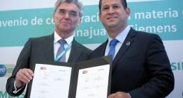 Firman convenio de colaboración Gobierno del Estado y SIEMENS.