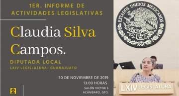 1er. Informe de Actividades Legislativas Dip. Claudia Silva Campos